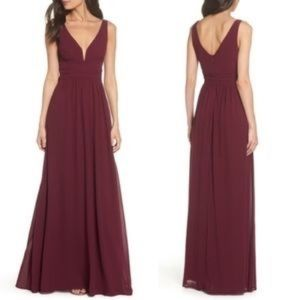 Lulu Small Burgundy Chiffon Gown Maxi Dress